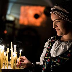Milano, Italia - 6 Gennaio 2016: Vigilia di Natale nella Parrocchia Ortodossa dei Santi Nicola e Ambrogio al Lazzaretto di Milano<br /> <br /> Milan, Italy - 6 January 2016:<br /> Christmas Vigil in the Orthodox church of Via San Gregorio in Milan