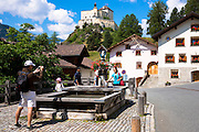 Tourists on a visit toTarasp Castle in the Lower Engadine Valley, Switzerland