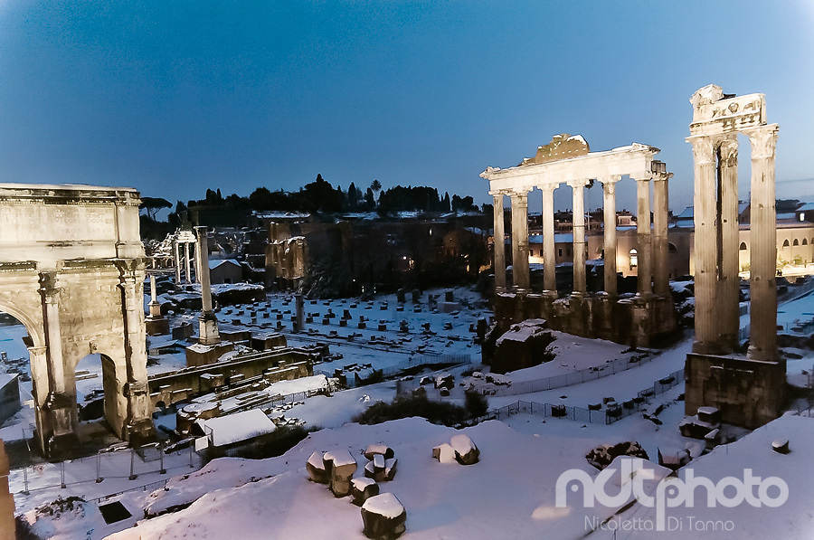 A view of the Roman forum after the snowfall in February 2012 during the blue hour