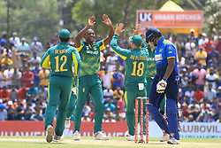July 28, 2018 - Dambulla, Sri Lanka - South African cricketer Kagiso Rabada celebrates during the 1st One Day International cricket match between Sri Lanka and South Africa at Rangiri Dambulla International Stadium, Dambulla, Sri Lanka on Sunday 29 July 2018  (Credit Image: © Tharaka Basnayaka/NurPhoto via ZUMA Press)