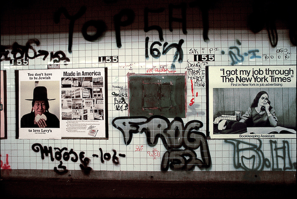 Frog 152 tag flanked by Levy's Jewish Rye advertisement on left and a New York Times advertisement on the right.   Taken with a Leica M4 on Kodachrome film.  First published in Birth of Graffiti (2005).