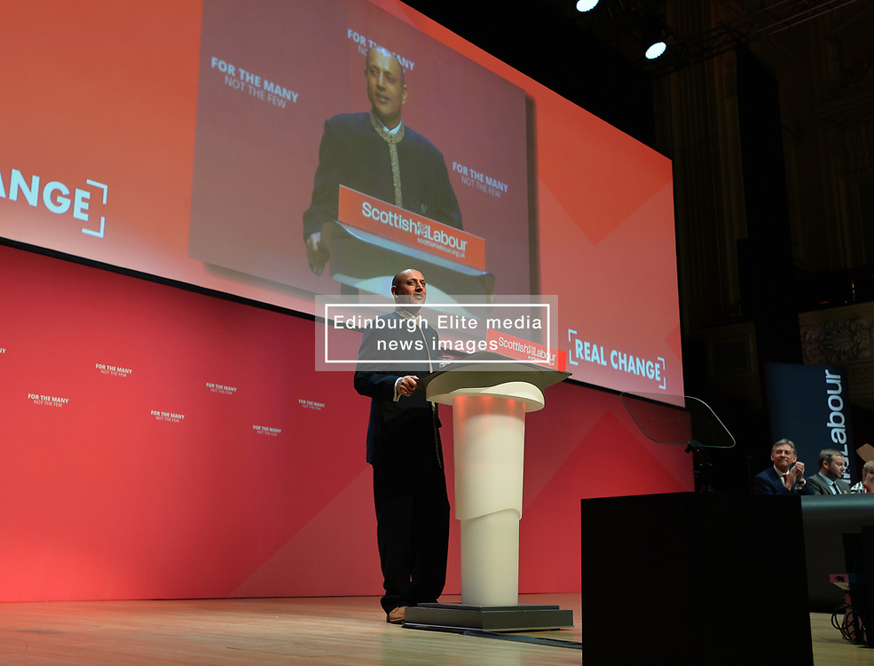 President of the STUC Satnam Ner addressing the Scottish Labour conference at the Caird Hall in Dundee.<br /> <br /> © Dave Johnston / EEm