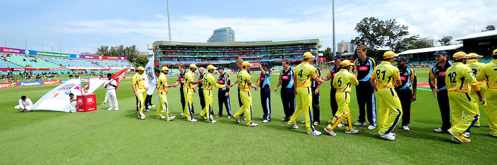 Handshake between two teams before the start of  match 17 of the Karbonn Smart CLT20 South Africa between The Chennai Superkings and Yorkshire held at Kingsmead Park in Durban, South Africa on the 22nd October 2012..Photo by Gerhard Duraan/SPORTZPICS/CLT20