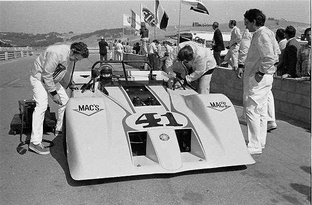 "Four-engines and four-wheel-drive, the highly experimental ""Mac's-It Special"" built by former Shelby crewman Jack Hoare. Seen at the 1970 Laguna Seca Can-Am, where it practiced but never raced."