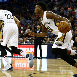 Dec 5, 2016; New Orleans, LA, USA; New Orleans Pelicans guard Buddy Hield (24) against the Memphis Grizzlies during the first quarter of a game at the Smoothie King Center. Mandatory Credit: Derick E. Hingle-USA TODAY Sports