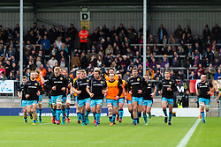 The Chiefs head for the changing rooms  prior to kick off - Mandatory by-line: Ryan Hiscott/JMP - 03/11/2018 - RUGBY - Sandy Park Stadium - Exeter, England - Exeter Chiefs v Bath Rugby - Premiership Rugby Cup