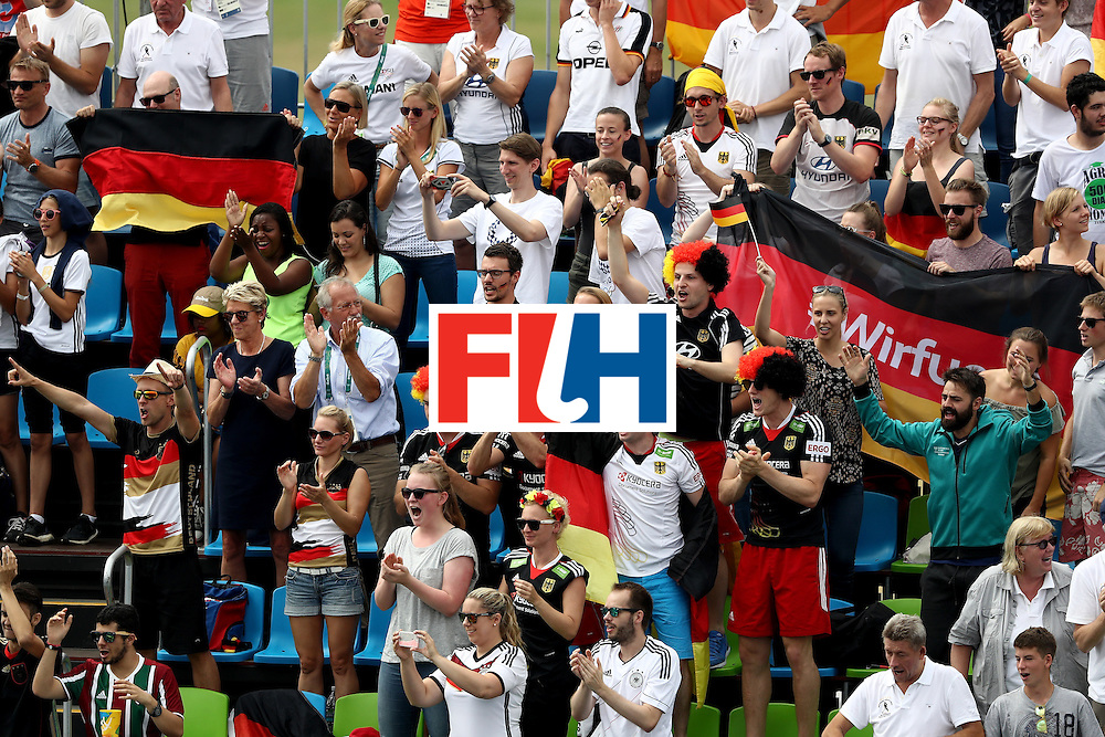 RIO DE JANEIRO, BRAZIL - AUGUST 08:  Germany fans cheer a goal against India during a Men's Pool B match on Day 3 of the Rio 2016 Olympic Games at the Olympic Hockey Centre on August 8, 2016 in Rio de Janeiro, Brazil.  (Photo by Sean M. Haffey/Getty Images)