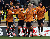 Photo: Rich Eaton.<br /> <br /> Wolverhampton Wanderers v West Bromwich Albion. Coca Cola Championship. 11/03/2007. Jay Bothroyd of WOlves #10, far right celebrates scoring the only goal of the game but receives a yellow card for his celebrations