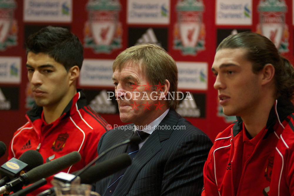 LIVERPOOL, ENGLAND - Thursday, February 3, 2011: Liverpool's manager Kenny Dalglish during a photo-call at Anfield to announce the signings of Luis Suarez and Andy Carroll. Suarez signed from Ajax for £22.8m whilst Carroll arrived from Newcastle United for a club record fee of £35m. (Photo by Vegard Grott/Propaganda)