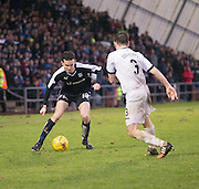 Dundee&rsquo;s Paul McGinn takes on Dumbarton&rsquo;s Mark Docherty - Dumbarton v Dundee, William Hill Scottish Cup fifth round at The Cheaper Insurance Direct Stadium <br /> <br />  - &copy; David Young - www.davidyoungphoto.co.uk - email: davidyoungphoto@gmail.com