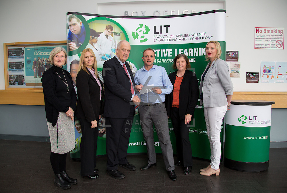 11.10.2016           <br /> Beckman Coulter Scholarship Limerick Institute of Technology. <br /> Pictured are left to right, Mary Morrin, Lecturer LIT, Karen Kelly, HR manager, Beckman Coulter, Patrick Power, Regional Development Beckman Coulter, Eamon Heaney, 4th year student Bio Analysis and Biotechnology , Ann Murphy, LIT and Michelle McKeon Bennett, Head of Applied Science LIT. Picture: Alan Place