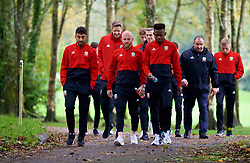 CARDIFF, WALES - Sunday, October 13, 2019: Wales' (L-R) Neil Taylor, Jonathan Williams and Rabbi Matondo during a pre-match team walk at the Vale Resort ahead of the UEFA Euro 2020 Qualifying Group E match between Wales and Croatia. (Pic by David Rawcliffe/Propaganda)
