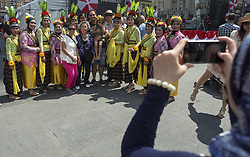 August 6, 2017 - Toronto, ON, Canada - MORE IN EMMA --- MORE IN EMMA -----------..TORONTO, ON - AUGUST 6: Members of a dance group take photos with people enjoying the festival. The 1st ever Indonesian Street festival,  sponsored by the Indonesian Consulate and the community, was held at Yonge-Dundas Square. Music, dance, food and crafts were on display and for sale. Toronto Star/Rick Madonik Rick Madonik/Toronto Star (Credit Image: © Rick Madonik/The Toronto Star via ZUMA Wire)