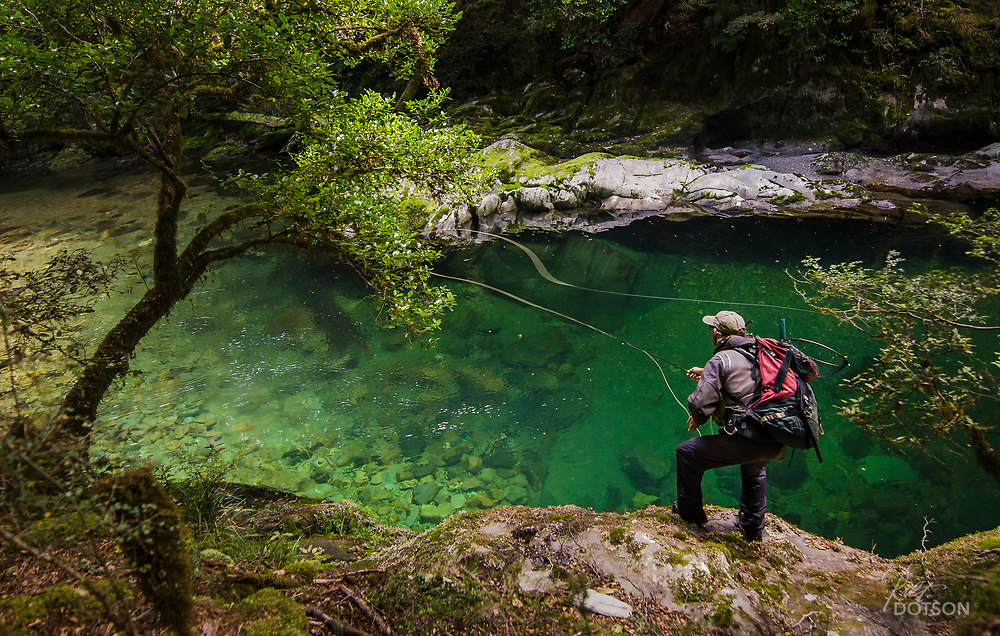 Casting to a drop in brown at the head of a back country pool in New Zealand. Aaron Ford.