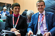 Graz, Austria - 2017 March 18: (R) Witold Banka (Polish Sports Minister) with (L) Maja Makovec Brencic from Slovenia (Minister of Education, Science and Sport) pose to the picture during Global Forum on Inclusion in Social Affairs and Sports while Special Olympics World Winter Games Austria 2017 at Convention Centre Messe Graz on March 18, 2017 in Graz, Austria.<br /> <br /> Mandatory credit:<br /> Photo by &copy; Adam Nurkiewicz / Mediasport<br /> <br /> Adam Nurkiewicz declares that he has no rights to the image of people at the photographs of his authorship.<br /> <br /> Picture also available in RAW (NEF) or TIFF format on special request.<br /> <br /> Any editorial, commercial or promotional use requires written permission from the author of image.<br /> <br /> Image can be used in the press when the method of use and the signature does not hurt people on the picture.