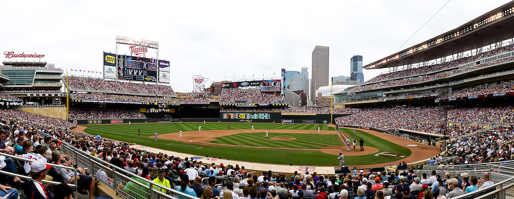 [Note:  This panorama was created from several photos and stitched during post-processing.]  A panoramic view of Target Field during a game between the San Diego Padres and Minnesota Twins in Minneapolis, Minnesota on June 19, 2011.