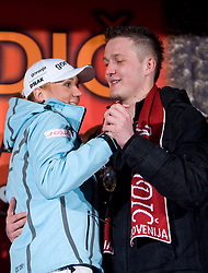 Slovenian athlete Petra Majdic dancing with her brother at her home town when she arrived home with small cristal globus at the end of the nordic season 2008/2009, on March 24, 2009, in Dol pri Ljubljani, Slovenia. (Photo by Vid Ponikvar / Sportida)