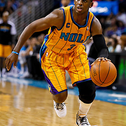 December 10, 2010; New Orleans, LA, USA; New Orleans Hornets point guard Chris Paul (3) against the Oklahoma City Thunder during the second half at the New Orleans Arena.  The Thunder defeated the Hornets 97-92. Mandatory Credit: Derick E. Hingle-US PRESSWIRE