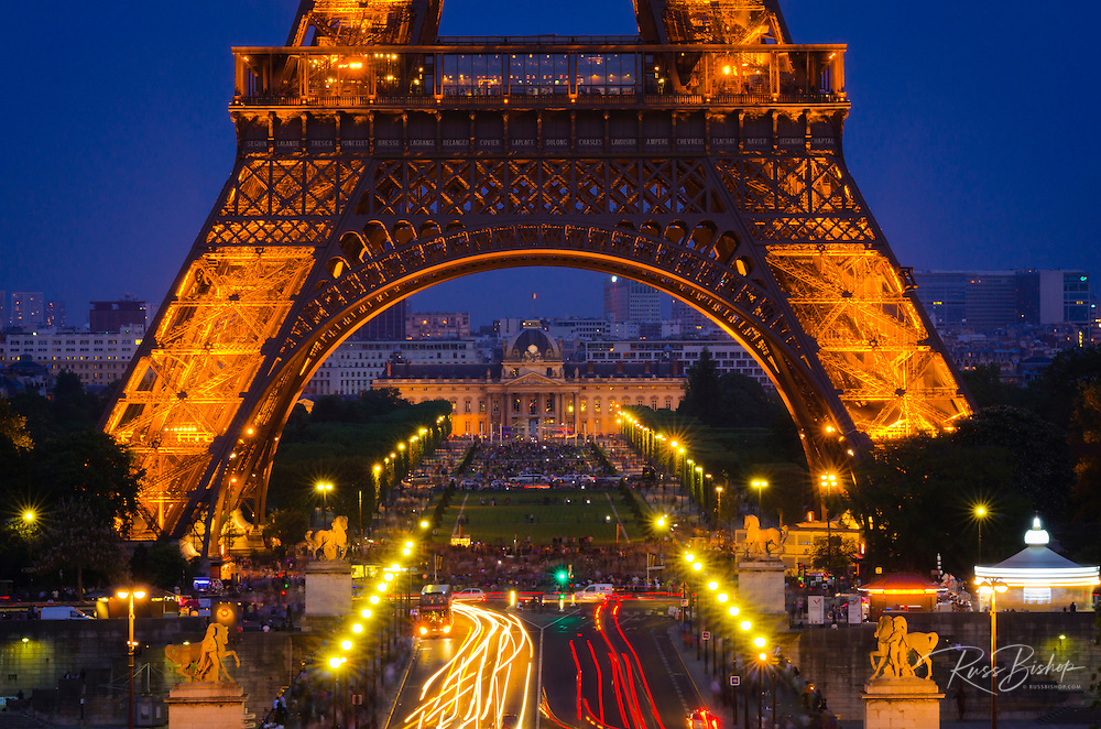 The Eiffel Tower at dusk from Trocadero Square, Paris, France