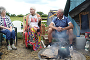 Fashion Designer Dame Vivienne Westwood talks to anti farcking protesters in Upton Near Chester as part of  the &quot;We Need To Talk About Fracking&quot; event held  this evening on Wednesday 11 June, 2014.<br /> <br /> #talkfracking<br /> <br /> Photos by Ki Price