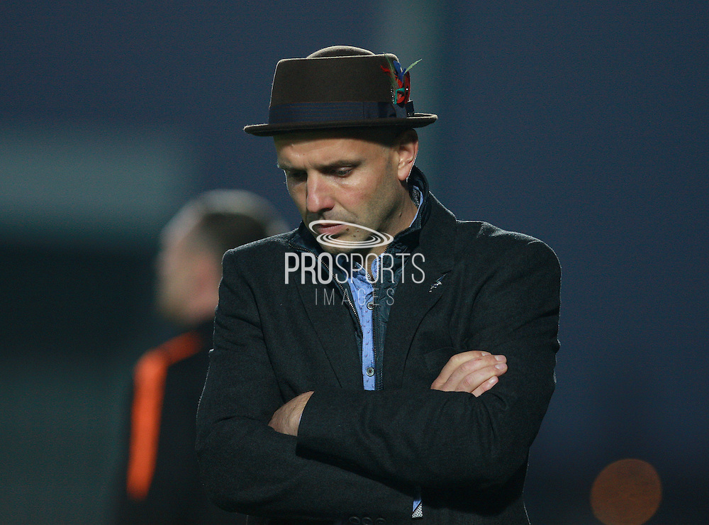 Exeter City Manager Paul Tisdale looks dejected at the final whistle of the Sky Bet League 2 match between Barnet and Exeter City at The Hive Stadium, London, England on 31 October 2015. Photo by Bennett Dean.