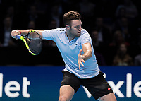 Tennis - 2017 Nitto ATP Finals at The O2 - Day Five<br /> <br /> Group Boris Becker Singles: Alexander Zverev (Germany) Vs Jack Sock (United States)<br /> <br /> Jack Sock (United States) poised and ready to strike the forehand return at the O2 Arena<br /> <br /> COLORSPORT/DANIEL BEARHAM