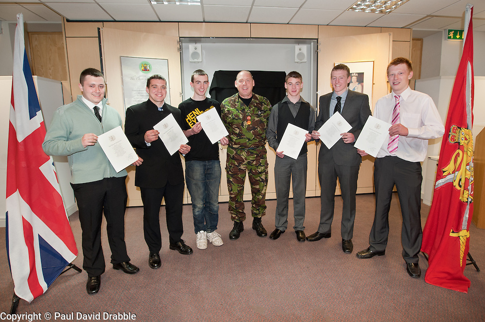 WO John Pearce  with Adam Taylor, Martin Shipston, Matthew Stephenson, Jack Fields, Kieran Norris and Nathan Sharp who will go on to Join The Yorkshire Regiment after taking the Oath of Allegiance at Sheffield AFCO today (Monday 21 March).21 March 2011.Images © Paul David Drabble