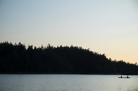 Fishing on Canoe at Cascade Lake / Moran State Park, Orcas Island, Washington