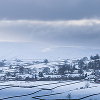 Snow covered remote Cumbrian village