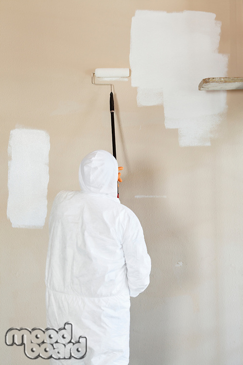 Rear view of male worker in protective workwear painting wall