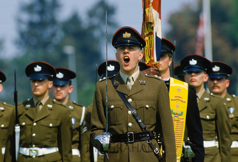 Officer shouting commands during military parade of British forces in Germany