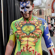 Painting Every Face at The Great British Tattoo Show, on 26 May 2019, London, UK.