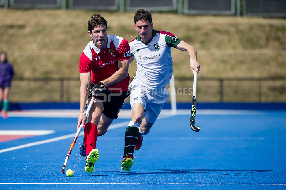Holcombe's Harry Trusler. Holcombe v Surbiton - Semi-Final - Men's Hockey League Finals, Lee Valley Hockey & Tennis Centre, London, UK on 22 April 2017. Photo: Simon Parker