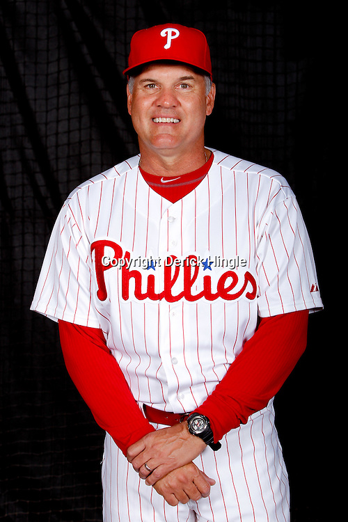 February 22, 2011; Clearwater, FL, USA; Philadelphia Phillies spring instructor Ryne Sandberg poses during photo day at Bright House Networks Field. Mandatory Credit: Derick E. Hingle