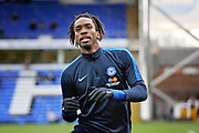 Peterborough Utd forward Ivan Toney (17) warming up before the EFL Sky Bet League 1 match between Peterborough United and Scunthorpe United at London Road, Peterborough, England on 1 January 2019.