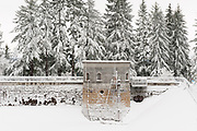 Snow blankets Reservoir 1 (1894) in Mount Tabor Park, Portland, Oregon, USA.  Snowfall: 10-JAN-2017. Photo: 11-JAN-2017. Nikon D700.