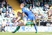 Paul Robinson of AFC Wimbledon see's his header go over during the Sky Bet League 2 match between Yeovil Town and AFC Wimbledon at Huish Park, Yeovil, England on 12 September 2015. Photo by Stuart Butcher.