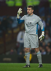 BIRMINGHAM, ENGLAND - Sunday, February 12, 2012: Aston Villa's goalkeeper Shay Given in action against Manchester City during the Premiership match at Villa Park. (Pic by David Rawcliffe/Propaganda)