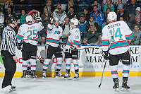 KELOWNA, CANADA - MARCH 11: Tomas Soustal #15 of Kelowna Rockets celebrates a second period goal against the Kamloops Blazers on March 11, 2016 at Prospera Place in Kelowna, British Columbia, Canada.  (Photo by Marissa Baecker/Shoot the Breeze)  *** Local Caption *** Tomas Soustal;