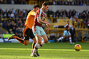 Wolverhampton Wanderers defender Danny Batth chases Burnley defender Michael Keane during the Sky Bet Championship match between Wolverhampton Wanderers and Burnley at Molineux, Wolverhampton, England on 7 November 2015. Photo by Alan Franklin.