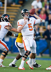November 7, 2009; Berkeley, CA, USA;  Oregon State Beavers quarterback Sean Canfield (5) throws against the California Golden Bears during the first quarter at Memorial Stadium. Oregon State defeated California 31-14.