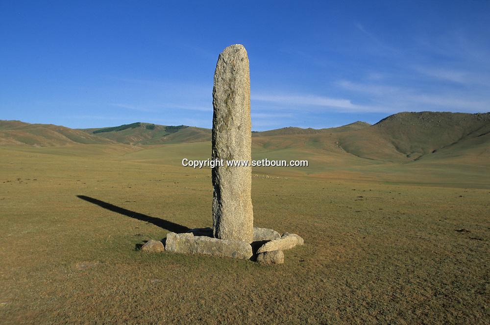 Mongolia. monoliths , Turkish tumb, Karakorum valley / Pierre tombale turque (VI-VIIIème siècle).