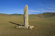 Mongolia. monoliths , Turkish tumb, Karakorum valley / Pierre tombale turque (VI-VIIIème siècle).