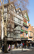 Historic Tudor buildings in High Street, Exeter city centre, Devon, England, UK