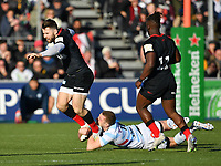 Rugby Union - 2019 / 2020 European Rugby Heineken Champions Cup - Pool Four: Saracens vs. Racing 92<br /> <br /> Saracens' Elliot Daly is tackled by Racing 92's Finn Russell, at Allianz Park.<br /> <br /> COLORSPORT/ASHLEY WESTERN