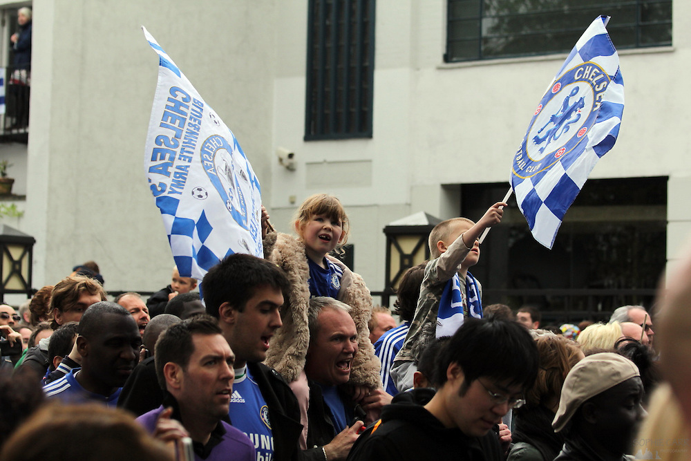 Chelsea supporters celebrate the 2012 Champions League victory on the parade through Parsons Green, May 20th 2012