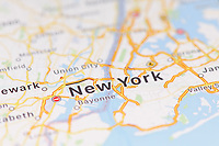 Closeup of New York city map on the screen of a GPS device, Apple iPhone maps app