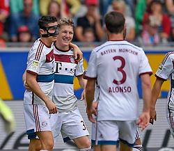 Football: Germany, 1. Bundesliga, SC Freiburg - FC Bayern Muenchen, Freiburg - 16.05.2015,<br /> Bastian Schweinsteiger (m, Muenchen) celebrates with Robert Lewandowski (l, Bayern Muenchen).<br /> <br /> &copy; pixathlon<br /> <br /> +++ NED out !!! +++