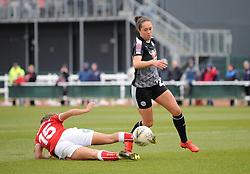 Abi Harrison of Bristol City tackles Jo Potter of Reading Women- Mandatory by-line: Nizaam Jones/JMP- 31/03/2019 - FOOTBALL - Stoke Gifford Stadium - Bristol, England - Bristol City Women v Reading Women - FA Women's Super League 1