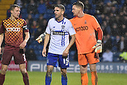 Bradford City Goalkeeper, Ben Williams organises the defencefor a corner with Bury Forward, Ryan Lowe nearby during the The FA Cup third round match between Bury and Bradford City at Gigg Lane, Bury, England on 9 January 2016. Photo by Mark Pollitt.